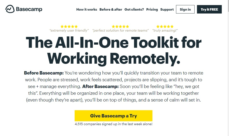 10 best remote working tools to improve productivity Basecamp for Work From Home
