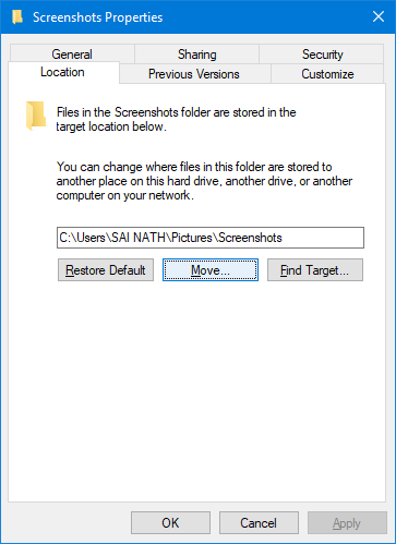 Change Default Screenshot Folder in Windows 10
