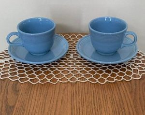 Fiesta Ware Fiestaware Cup and Saucer Set of Two 2 Light Periwinkle Blue Dinnerware Pastel aflashbackintime