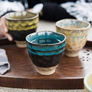 Kiln change Japanese style handmade kiln change ceramic coffee cup and saucers 250ml