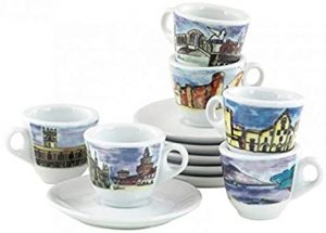 Porcelain Espresso Cup with the Cities of Italy (Set of 6)